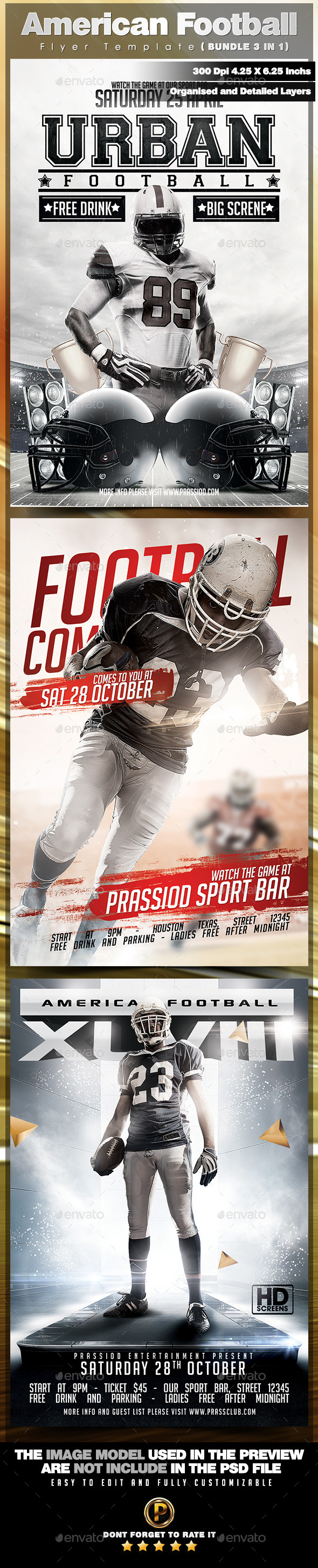 American Football Flyer Template - Bundle 3 in 1 - Sports Events