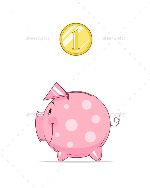 Piggy Bank and Coin - Concepts Business