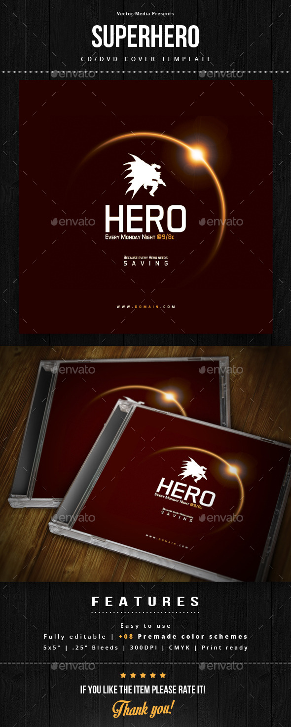 Superhero - Cd Cover - CD & DVD Artwork Print Templates