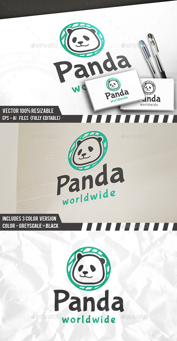 Panda World Logo - Animals Logo Templates