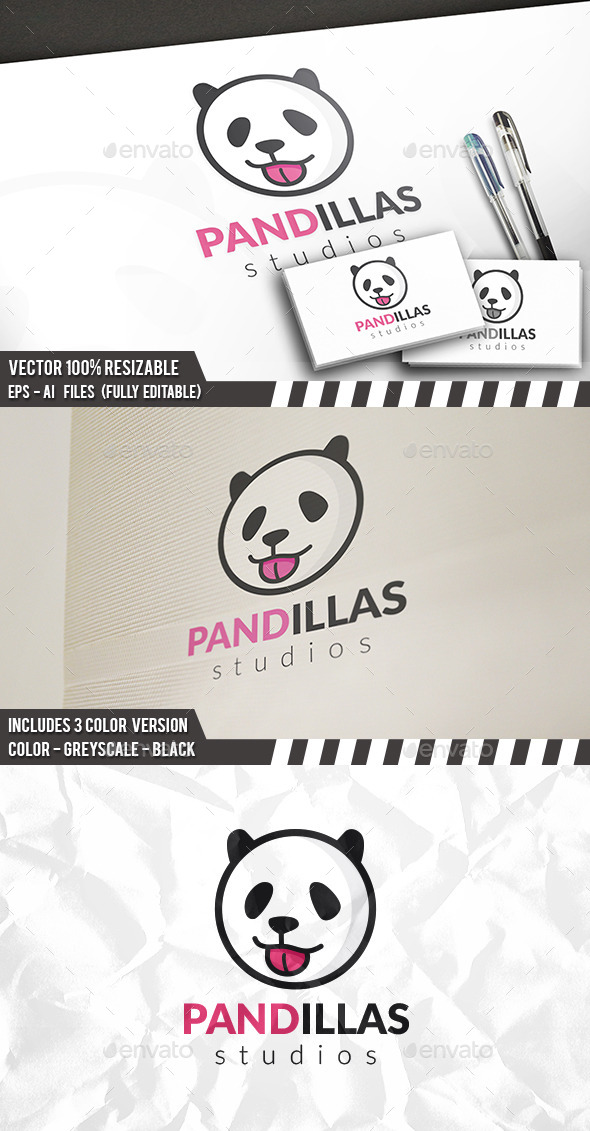 Panda Ball Logo - Animals Logo Templates
