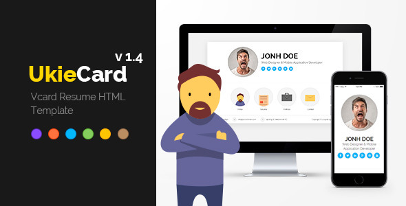 UkieCard – Personal Vcard & Resume HTML Template