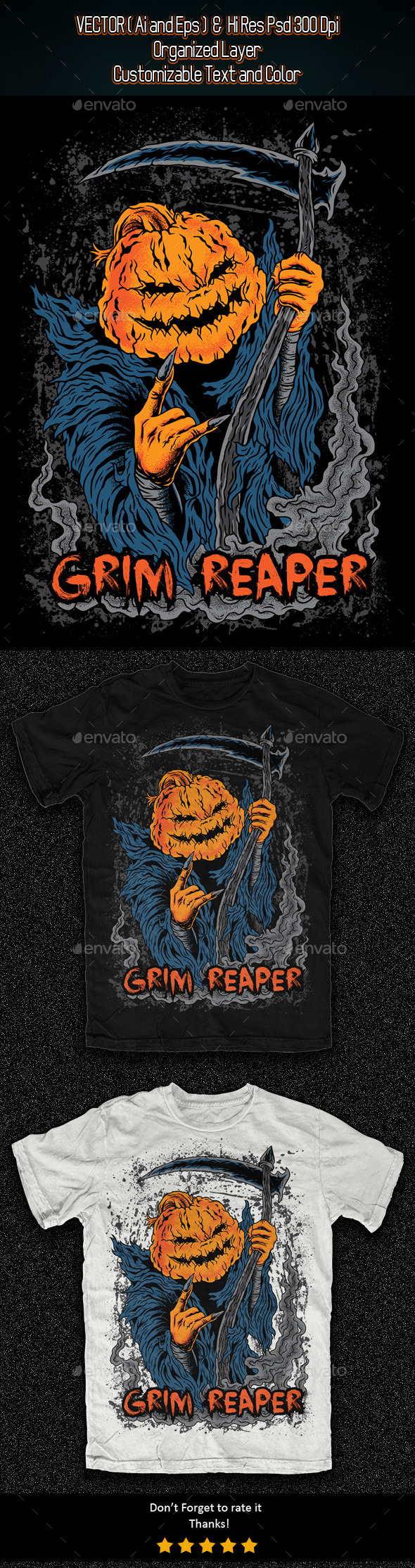 Grim Reaper Illustration - Grunge Designs