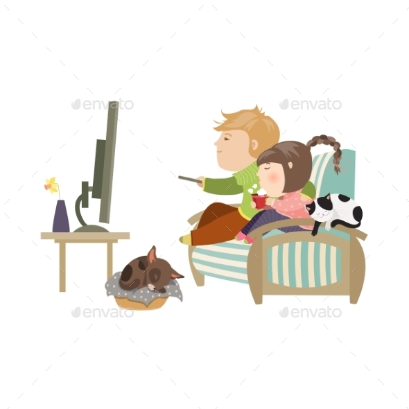 Couple Watching Television Sitting on the Couch - People Characters