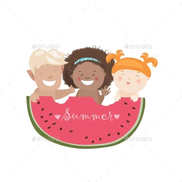 Children Eating Watermelon - People Characters