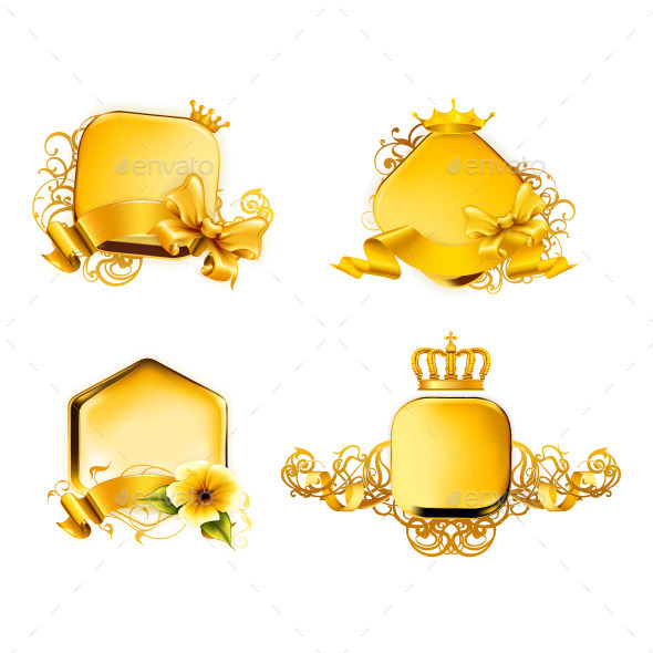 Golden Frames Icons - Decorative Symbols Decorative