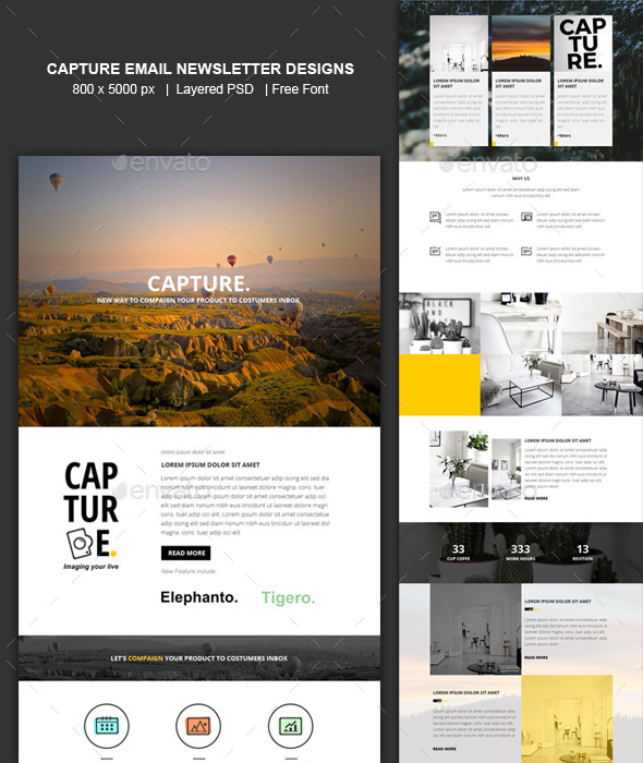 Capture Email Newsletter Templates Designs by ShadiqJayaDesigns ...
