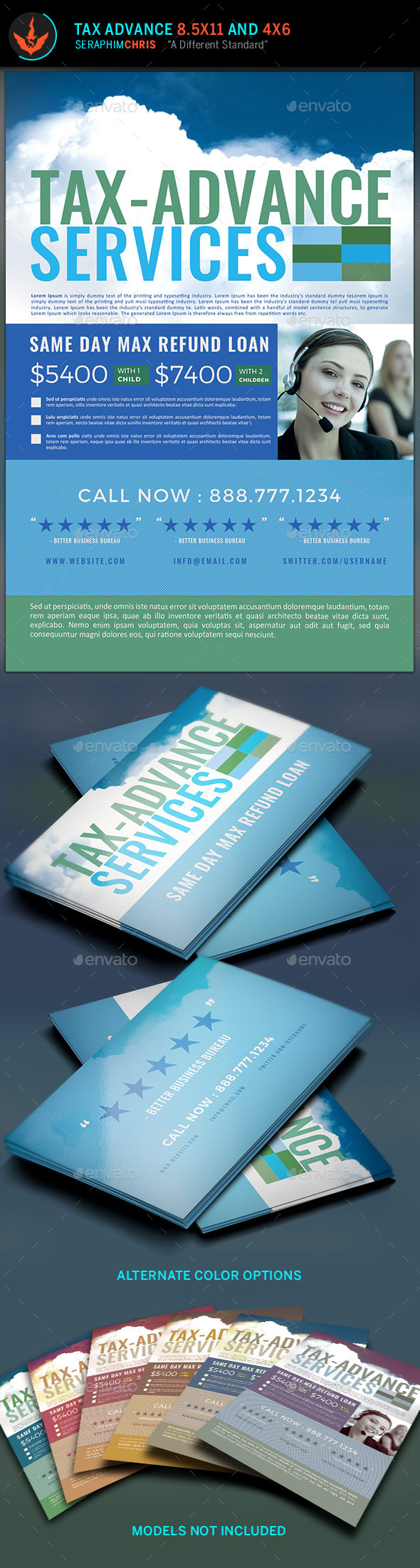 Tax Advance Flyer and Business Card Template - Corporate Flyers