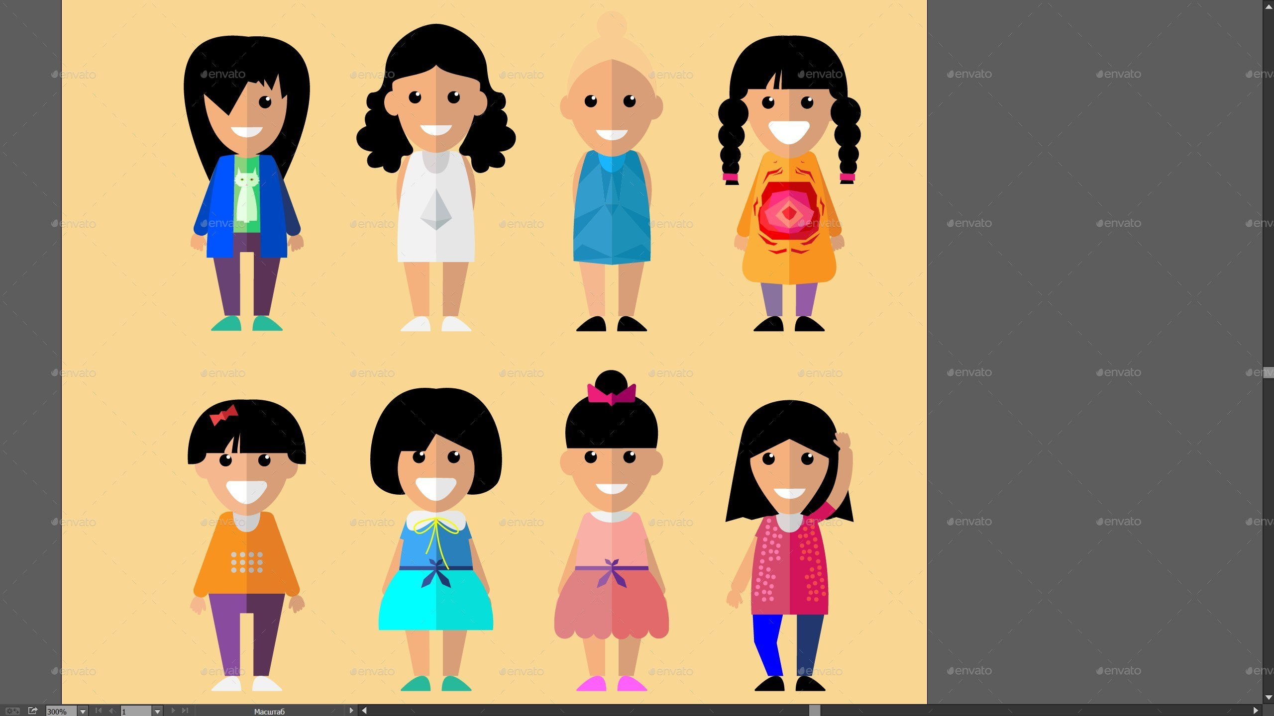 Simple Character Design Illustrator : 25 flat characters design vector pack by vitaliyvill graphicriver