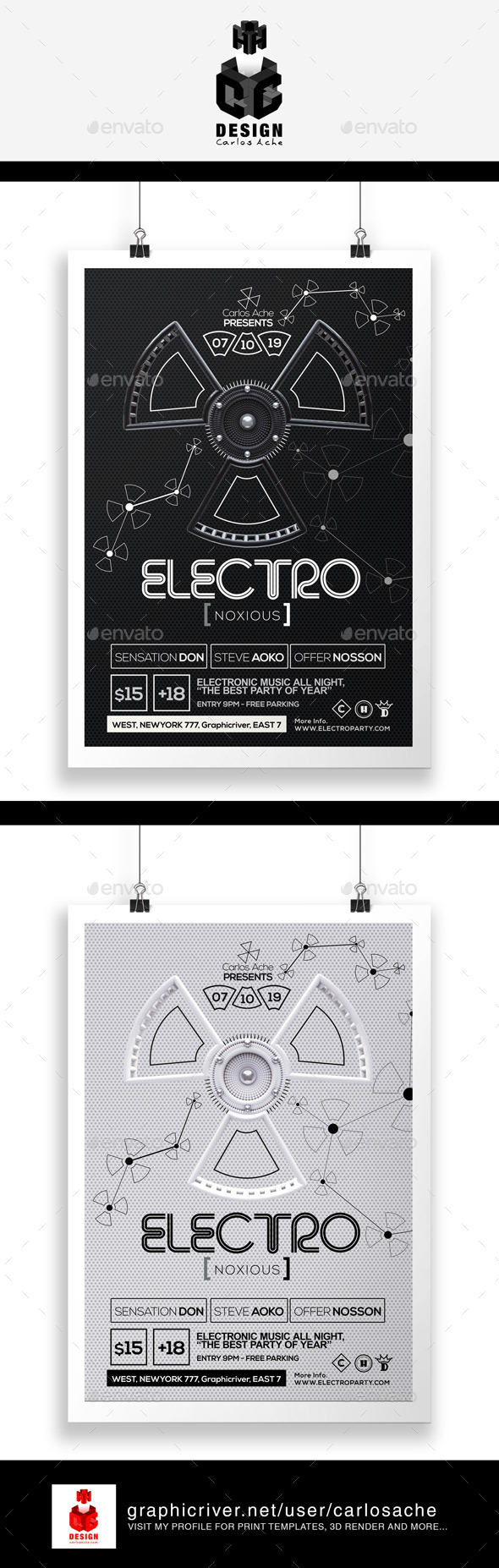 Electro Noxious - Flyer & Poster Template - Clubs & Parties Events