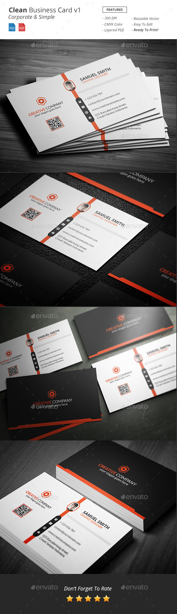 Clean - Corporate Business Card v1 - Corporate Business Cards