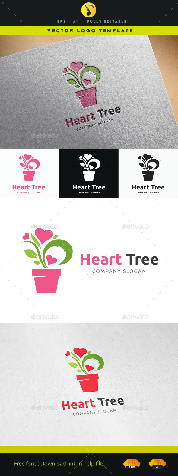 Heart Tree Logo - Nature Logo Templates