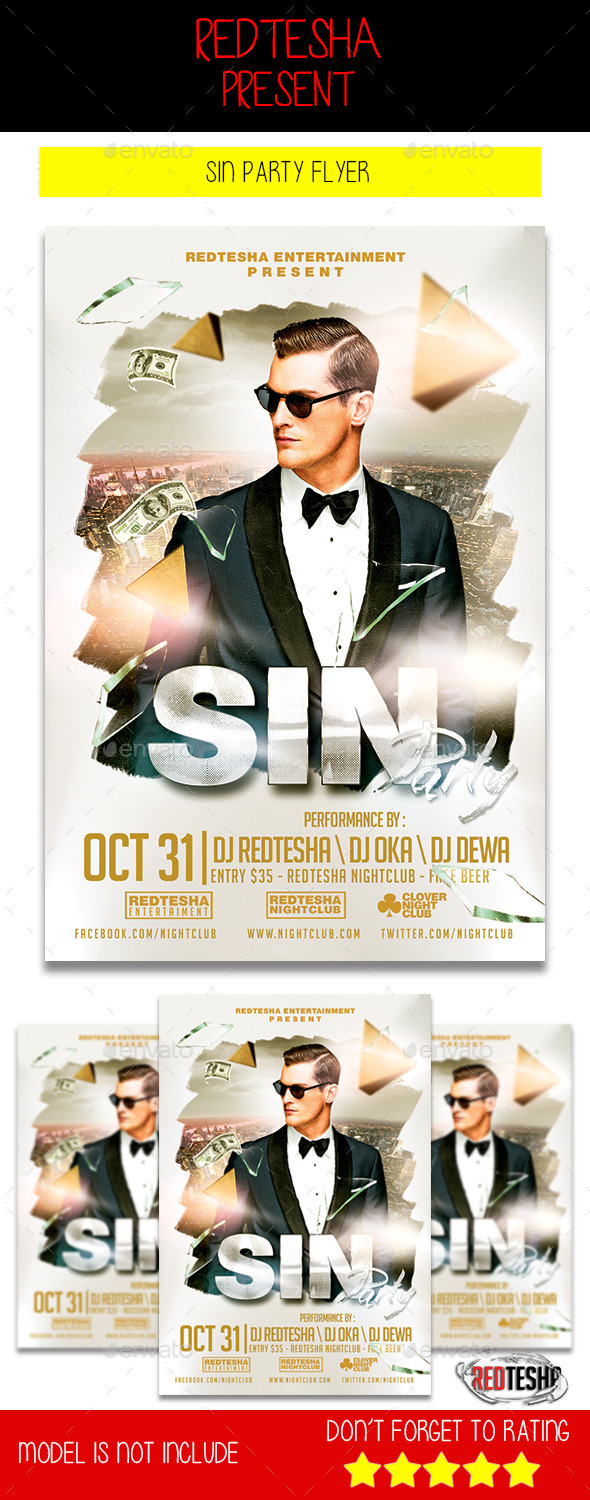 Sin Party Flyer - Clubs & Parties Events