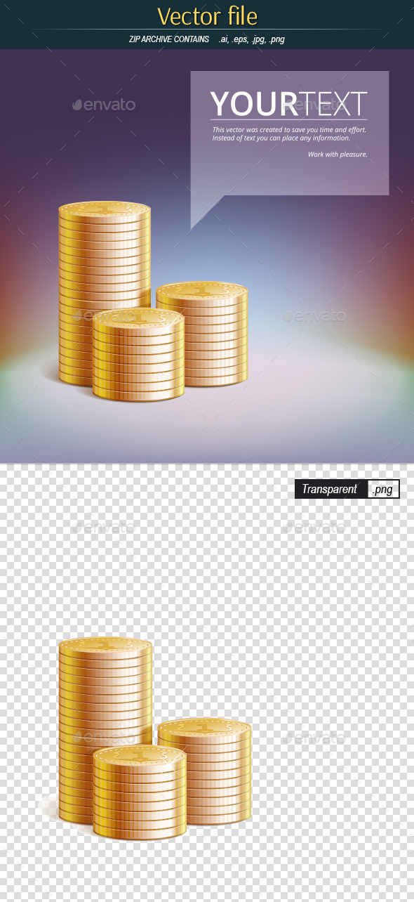 Stacks of Gold Coins with Place for Your Text