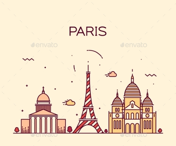 Paris City Skyline Trendy Vector Line Art - Buildings Objects
