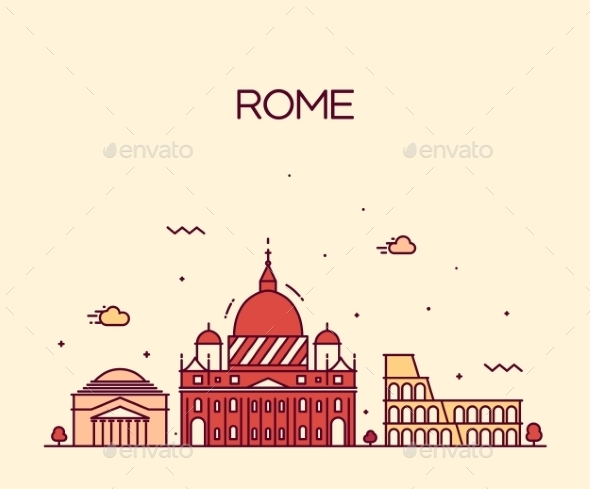 Rome City Skyline Detailed Vector Line Art Style - Buildings Objects