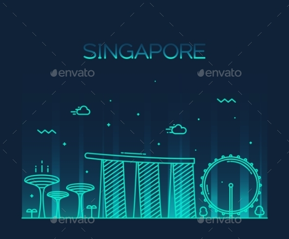 Singapore City Skyline Trendy Vector Line Art - Buildings Objects