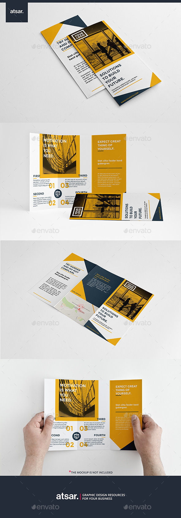 Clean Yellow Trifold - Brochures Print Templates
