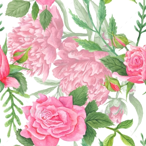 Shabby Chic Watercolor Peony And Rose Pattern - Backgrounds Decorative