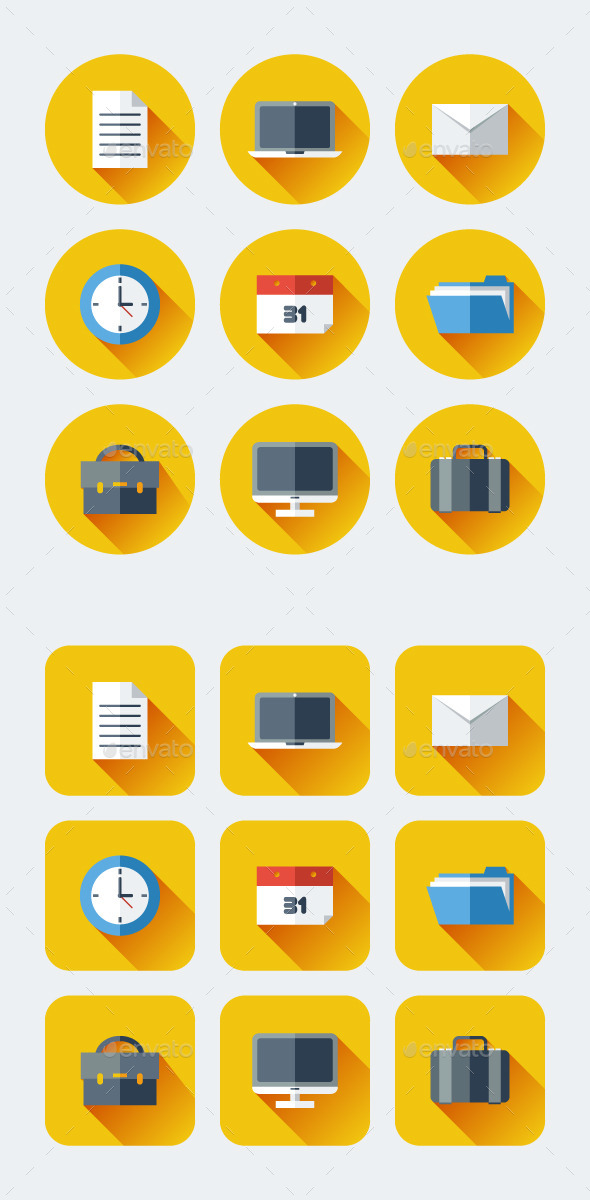 Business or Work Flat Long Shadow Icons