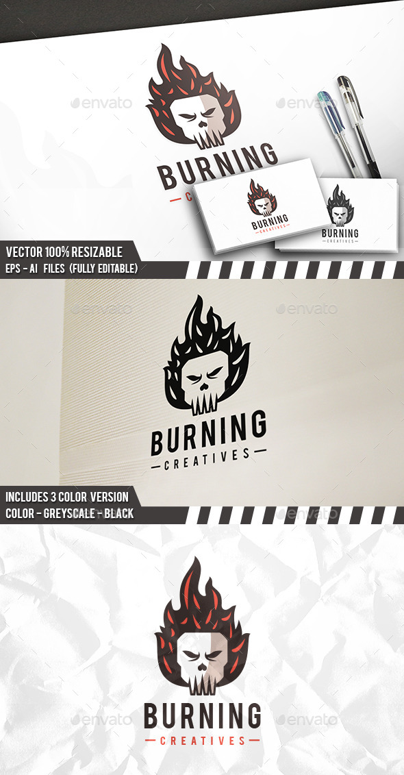 Burning Skull Logo - Humans Logo Templates