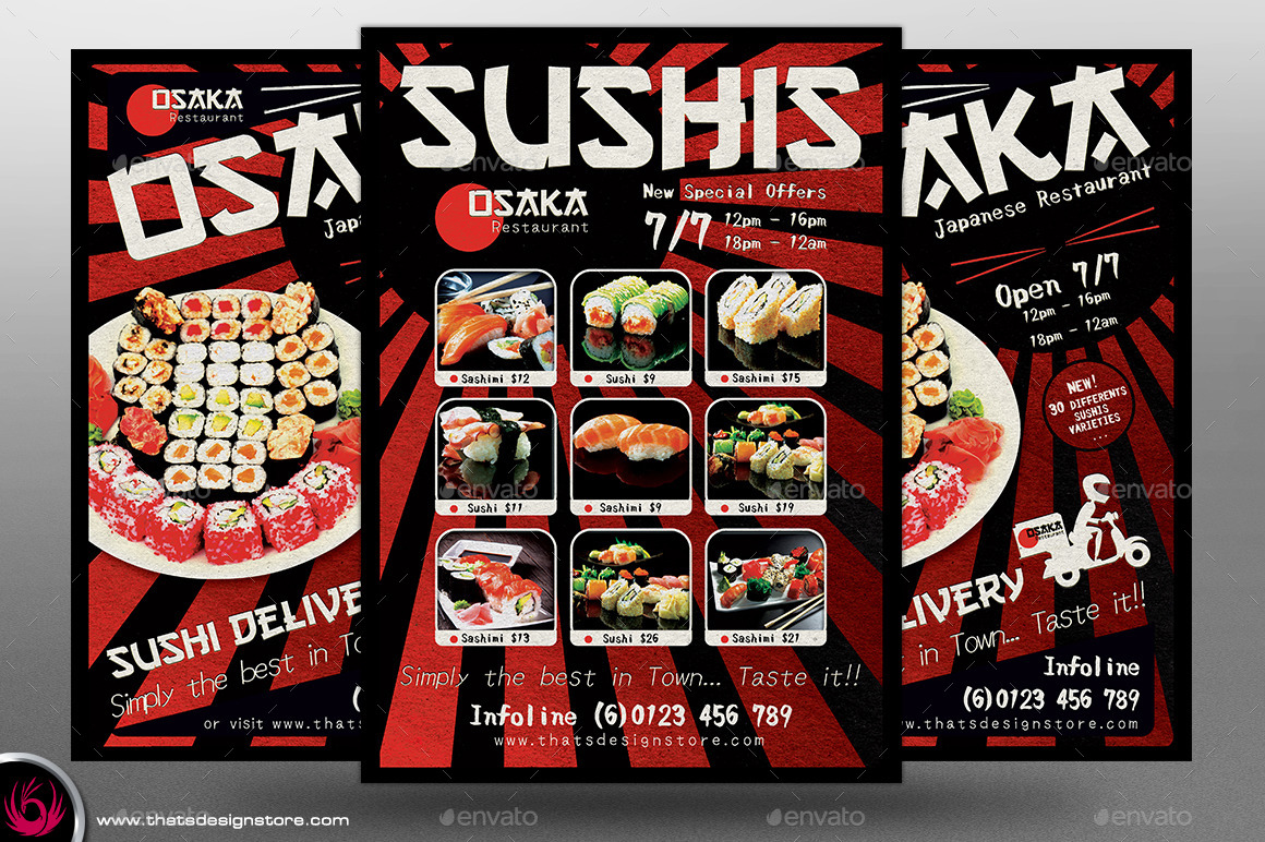 Sushi Delivery Flyer Template (2 sides) by lou606 | GraphicRiver