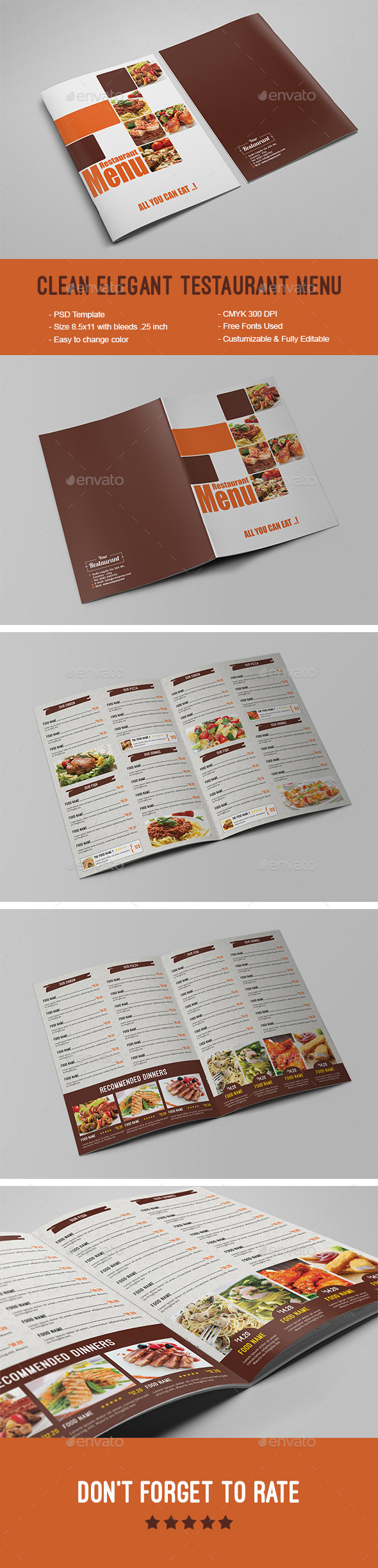 Clean Elegant Restaurant Menu - Food Menus Print Templates