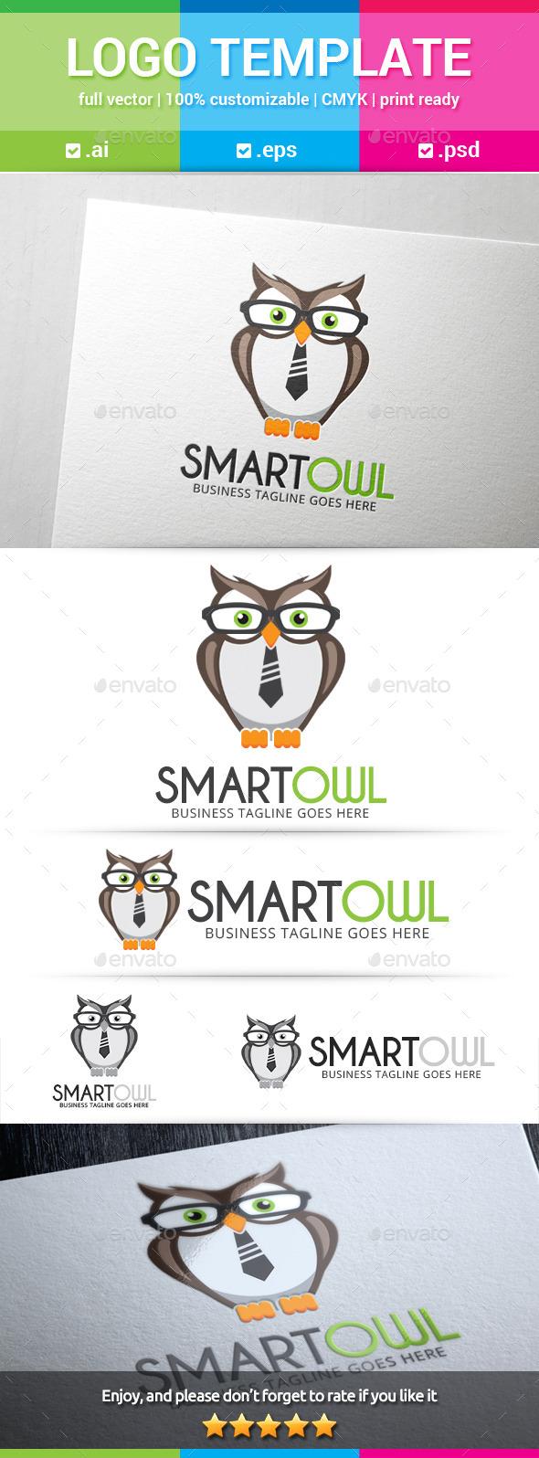 Smart Owl Logo - Animals Logo Templates