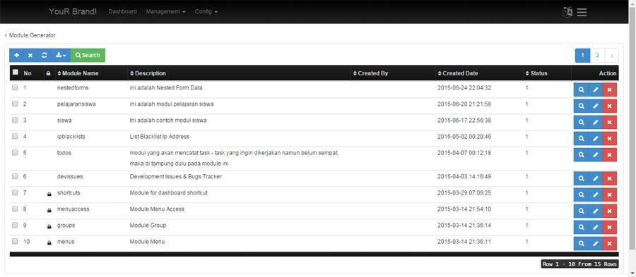 Codeigniter CRUD Generator - Admin