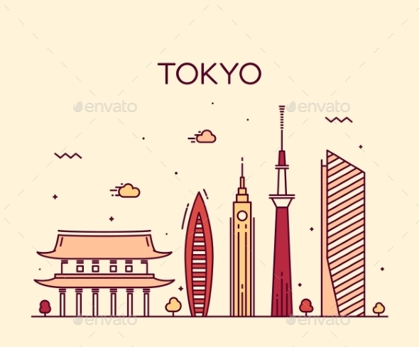 Tokyo City Trendy Vector Illustration Line Art - Buildings Objects