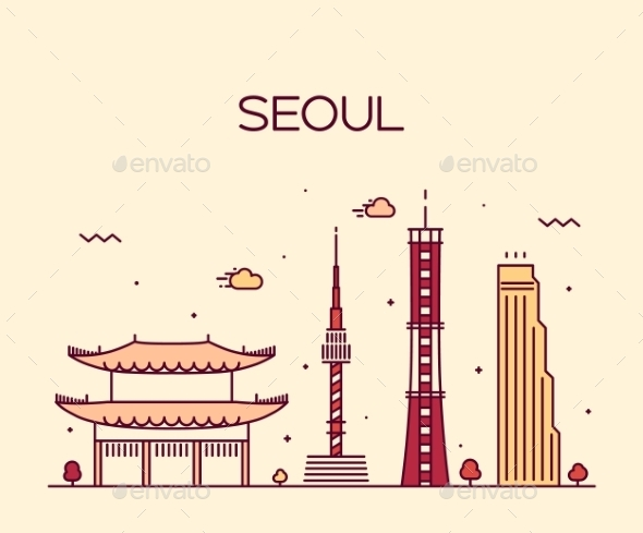 Seoul City Skyline Trendy Vector Line Art Style - Buildings Objects