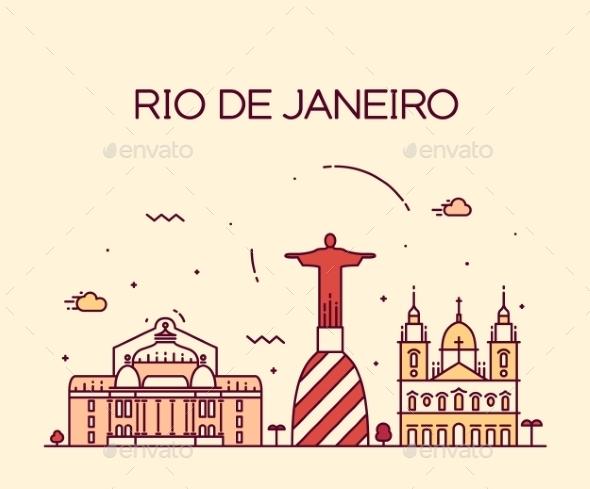 Rio De Janeiro City Skyline Trendy Line Art Style - Buildings Objects