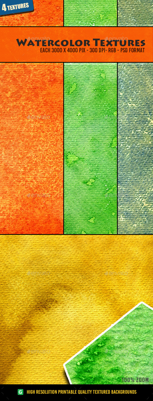 Watercolor Texture Pack 10 - Art Textures