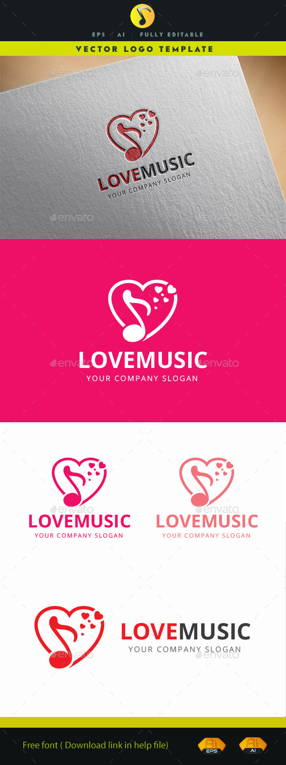 Love Music Logo - Objects Logo Templates