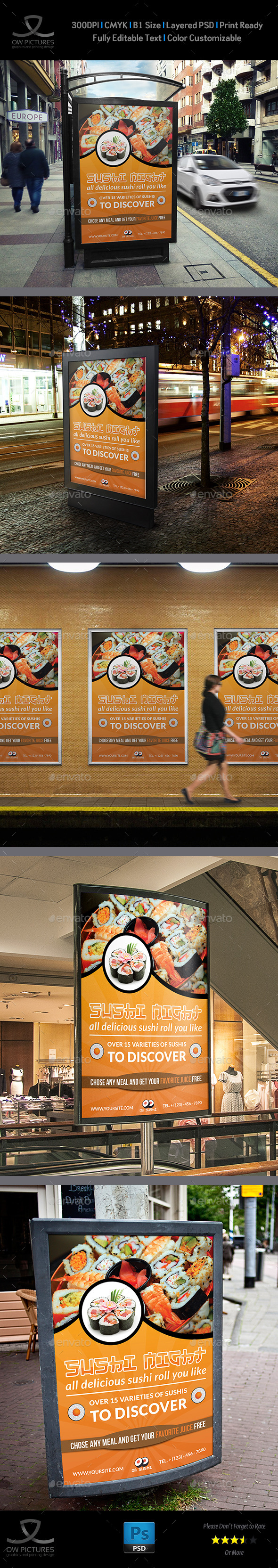Sushi Restaurant Poster Template - Signage Print Templates