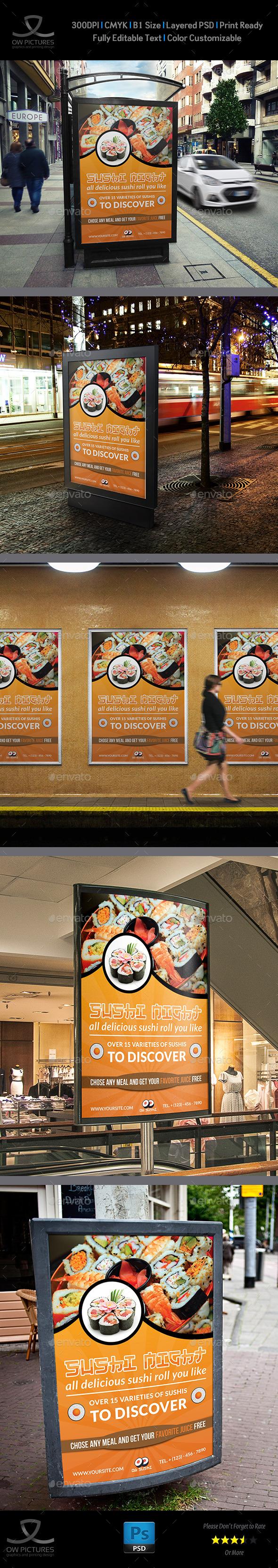 Sushi Restaurant Poster Template