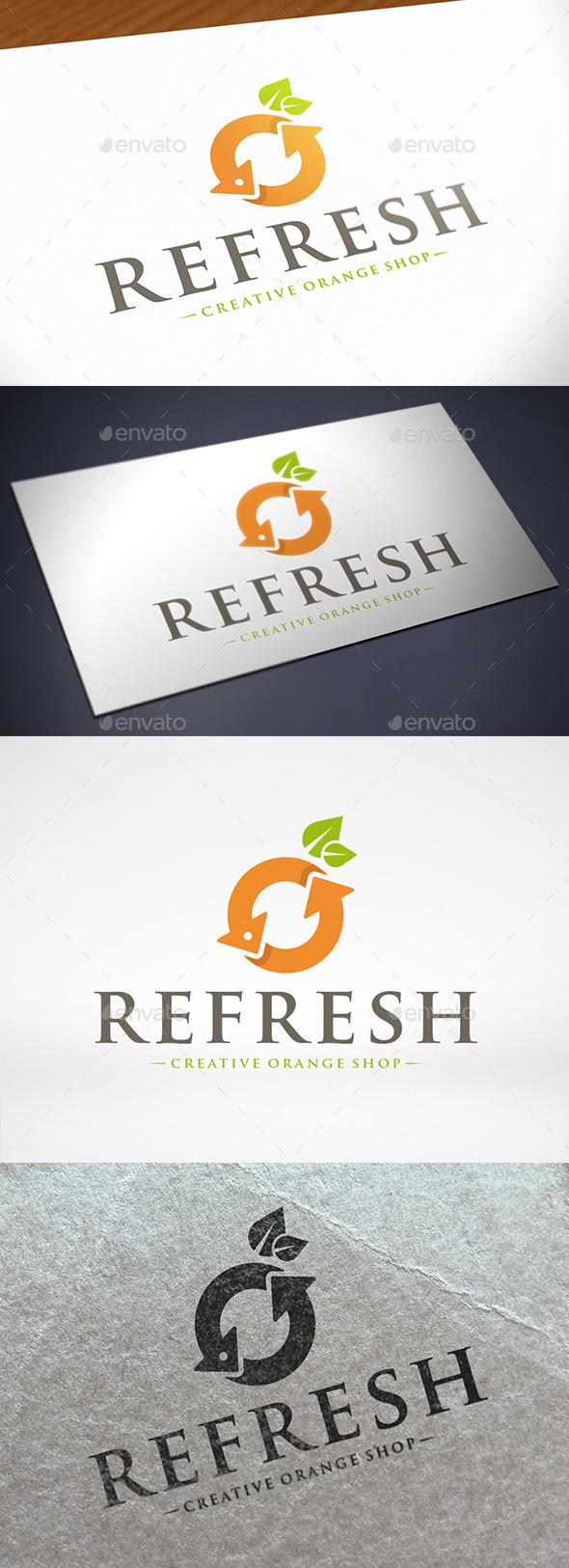 Refresh Orange Logo Template - Food Logo Templates
