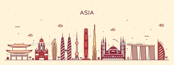 Asia Skyline Trendy Vector Illustration Line Art - Travel Conceptual