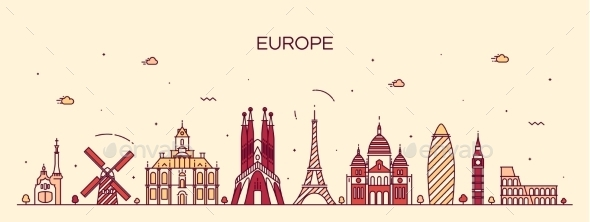 Europe Skyline Detailed Silhouette Line Art Style - Travel Conceptual