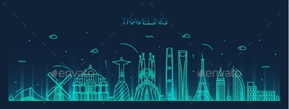 Traveling Background Skyline Detailed Silhouette - Travel Conceptual