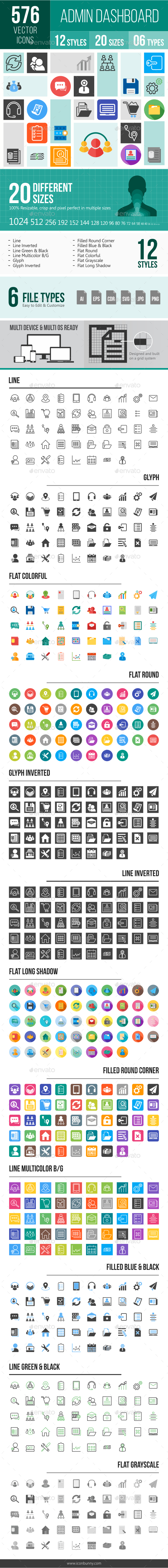 576 Admin Dashboard Icons - Icons