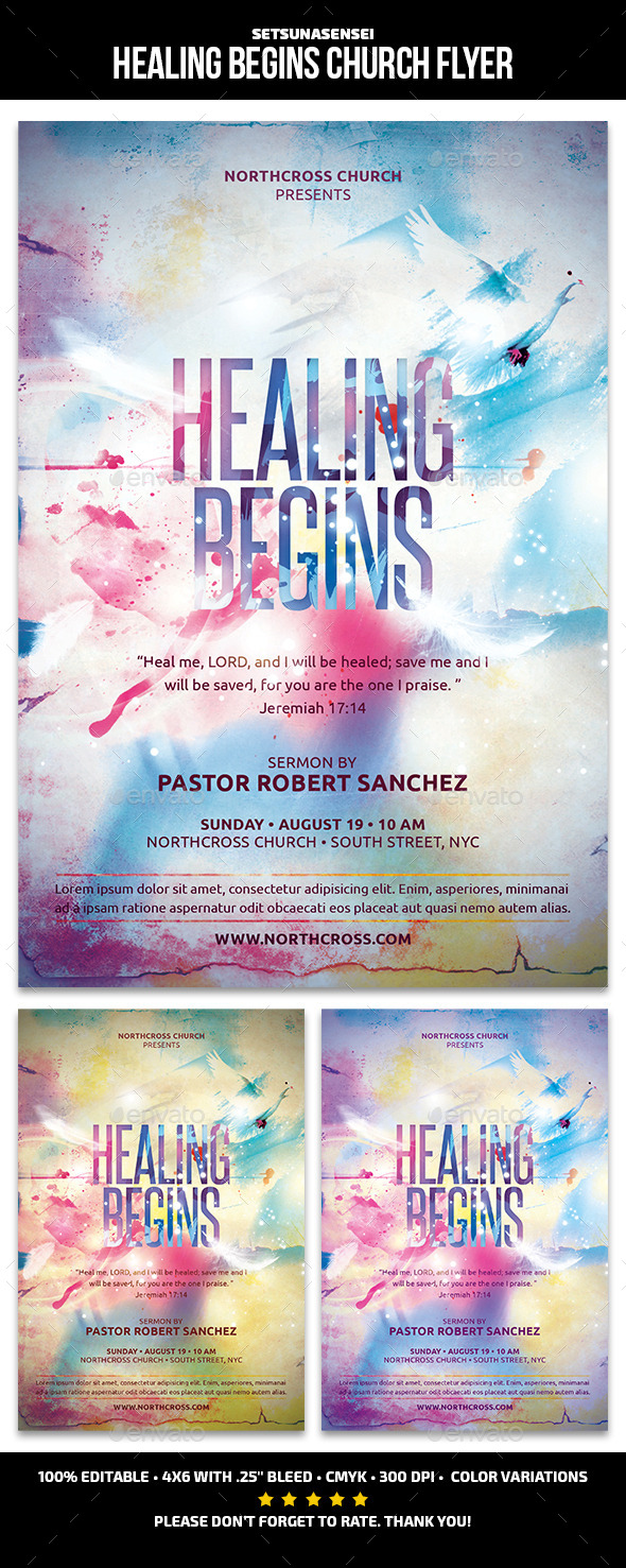 Healing Begins Church Flyer - Church Flyers