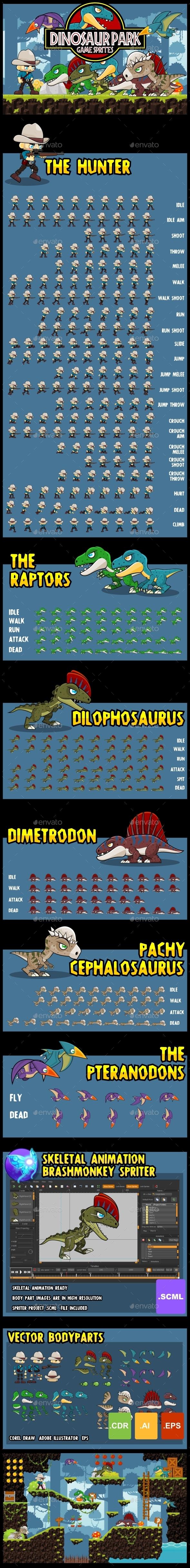 Dinosaur Park - Game Sprites - Sprites Game Assets