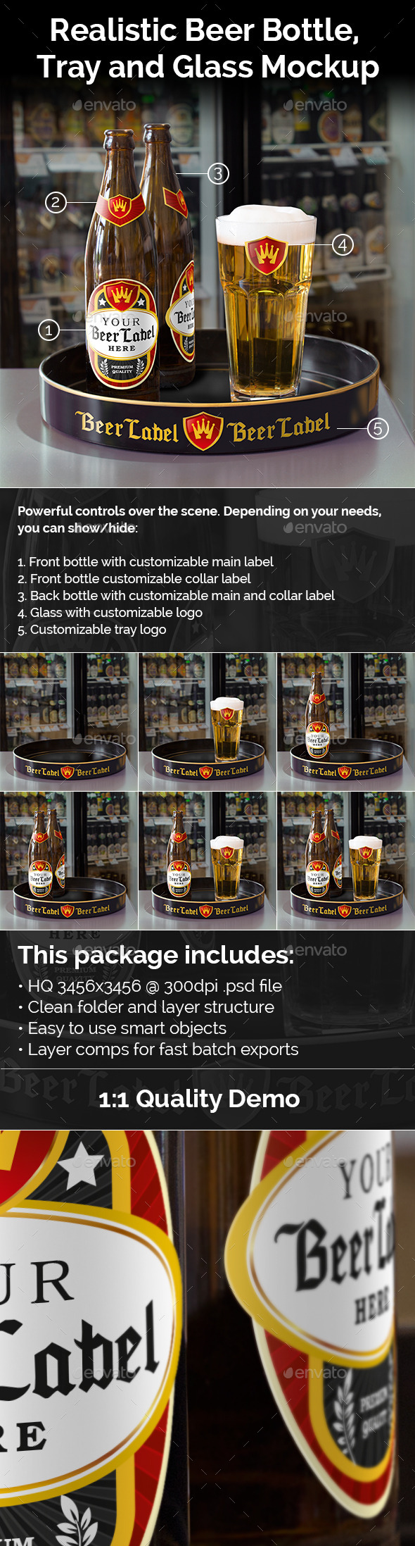 Realistic Beer Bottle, Tray and Glass Mockup - Food and Drink Packaging