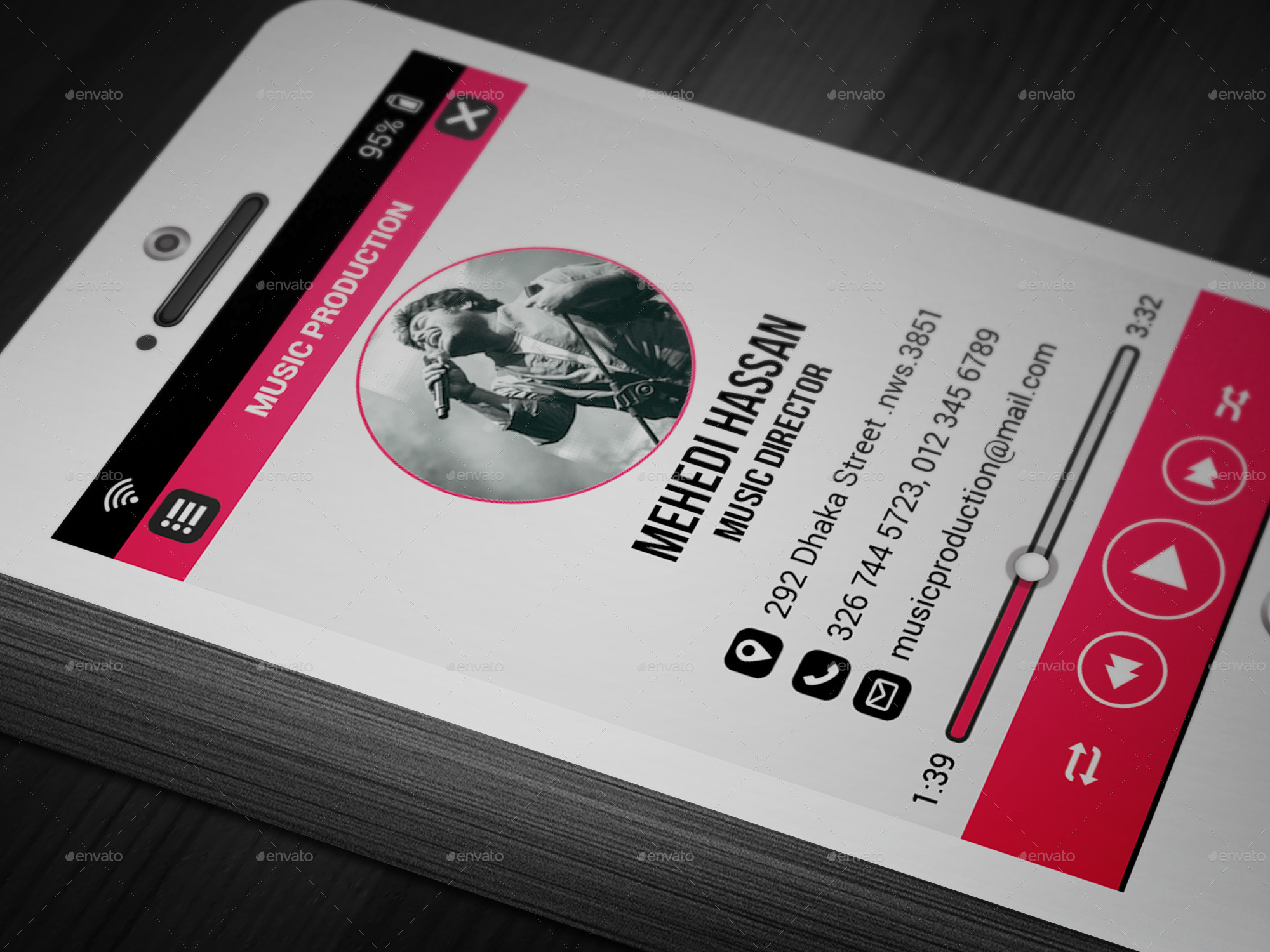 Phone Music Business Card by Mehedi Hassan