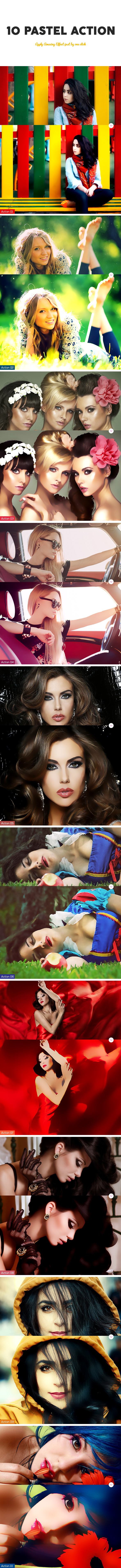 10 Pastel Photoshop Action - Photo Effects Actions