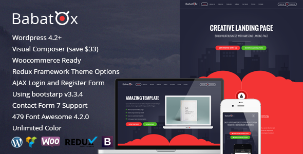 Babatox - Responsive Landing Page WordPress Theme - Marketing Corporate