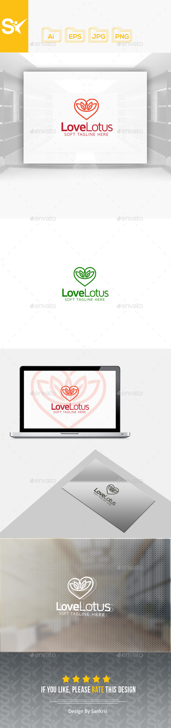 Love Lotus Logo - Nature Logo Templates