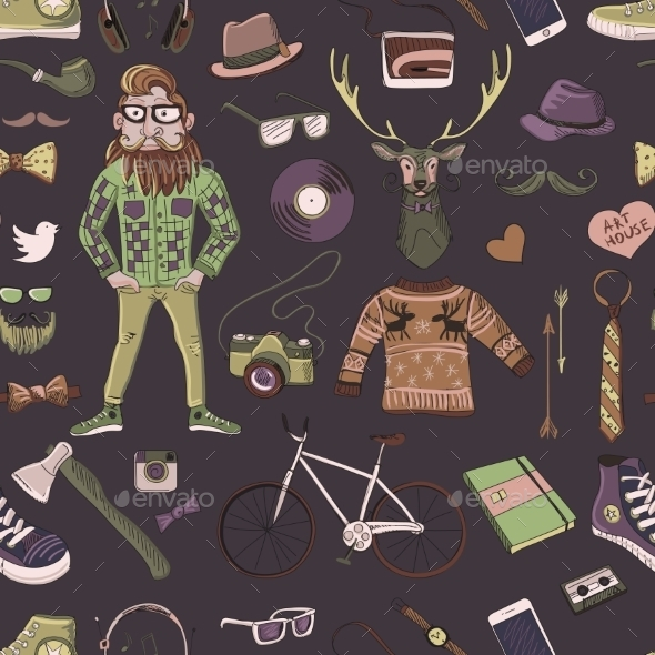 Colored Hand-drawn Hipster Style Pattern - Decorative Symbols Decorative