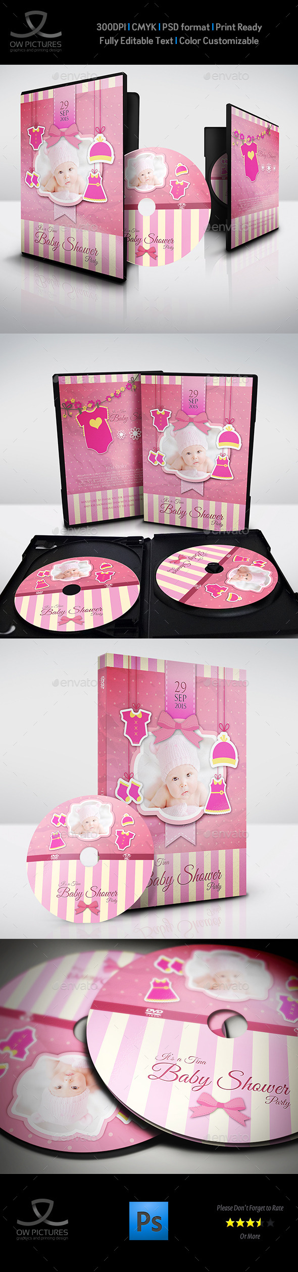 Baby Shower Party DVD Template Vol.5 - CD & DVD Artwork Print Templates